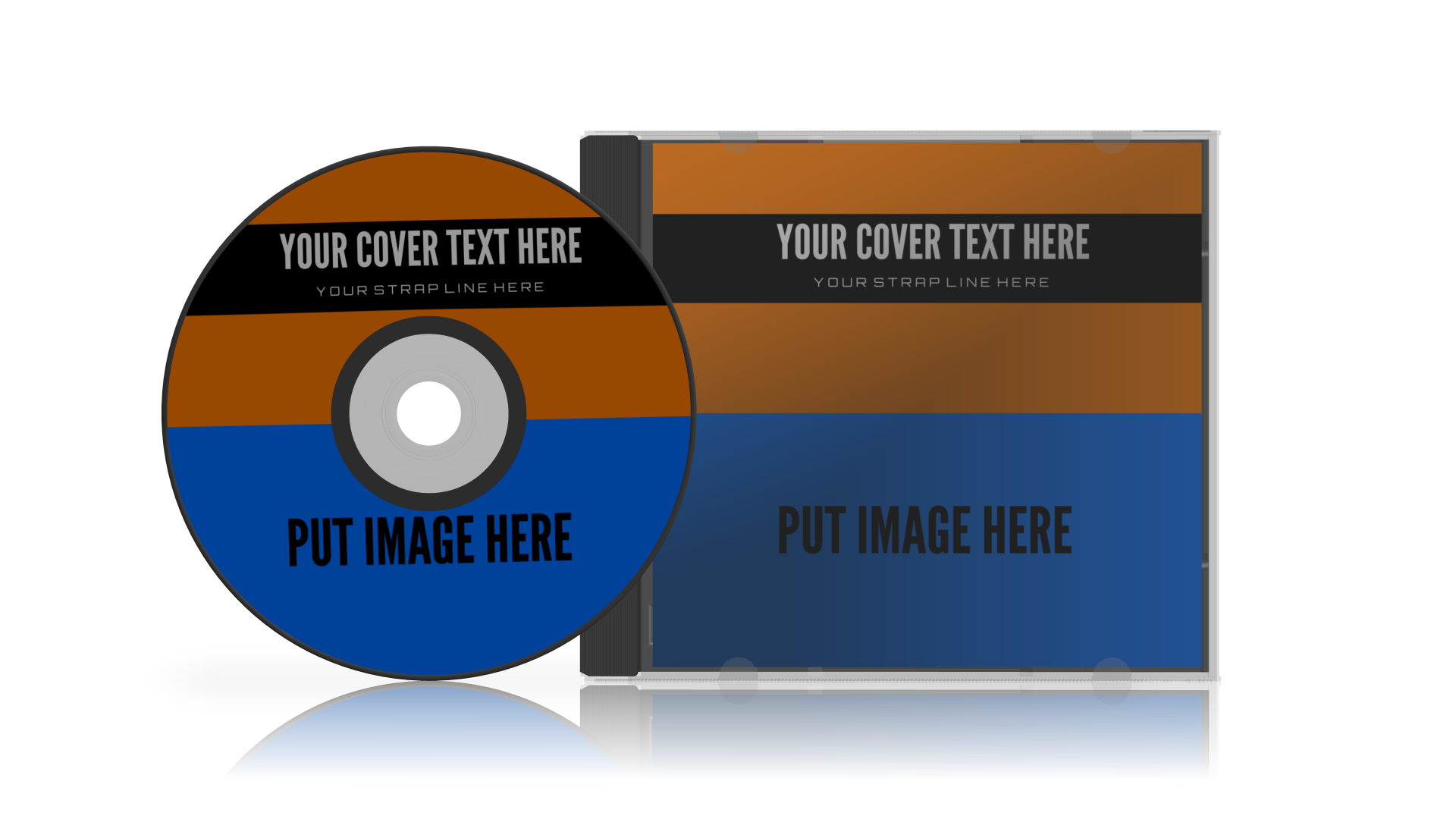 3D model CD jewel case with CD to the left. Rendered in 3D Box Shot Pro with Shadows and reflection.