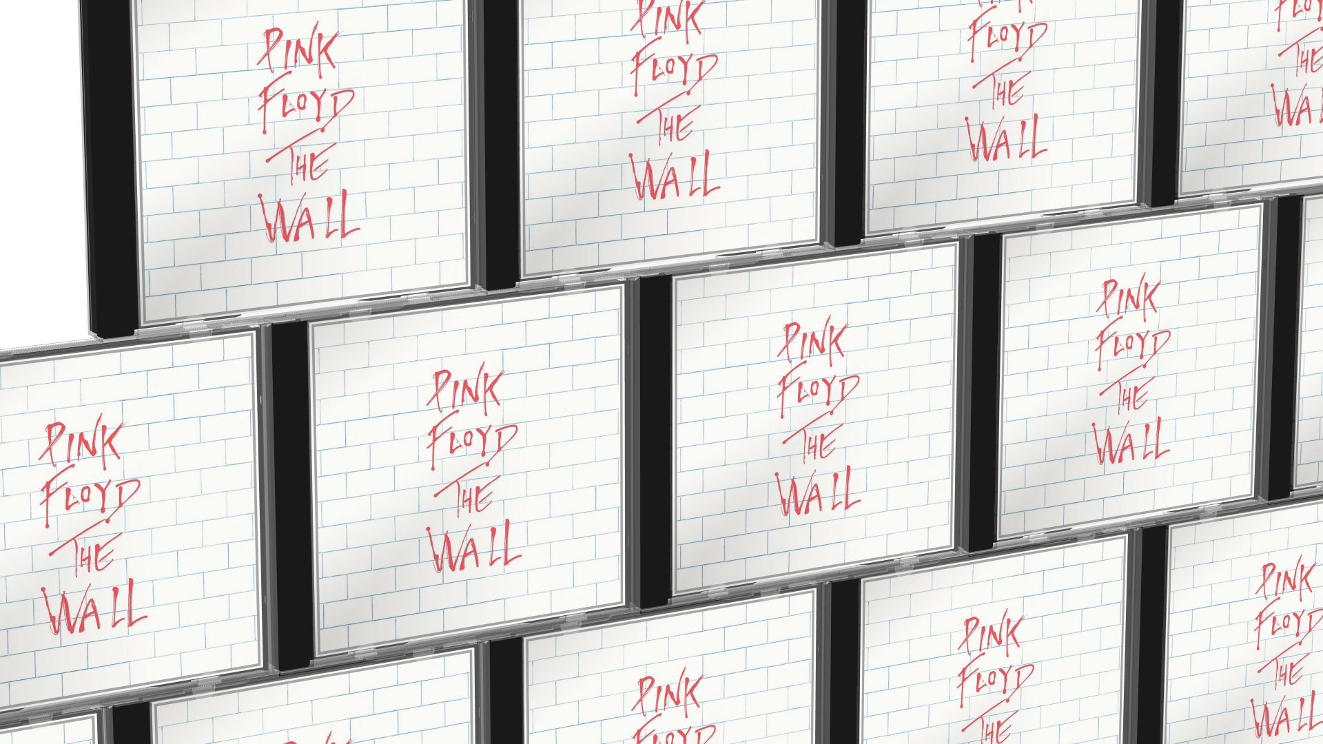 A wall of 3D CD Jewel Cases showing Pink Floyd: The Wall