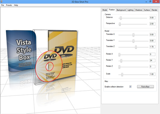 Screenshot showing a DVD Case with the disc selected and the models bounding box showing.