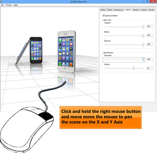 Screenshot of the 3D Box Shot Pro Interface showing how you can use mouse controls to move models in the viewport.