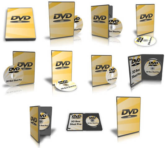 Showcases the multiple types of DVD cases that ship with the program.