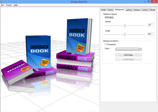 Image showing reflections of a set of stacked eBook Models in 3D Box Shot Pro,