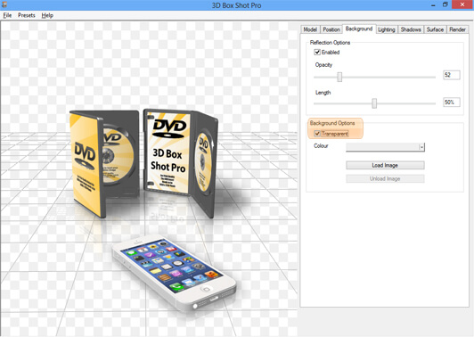 Image showing how to make the background transparent in a scene in 3D Box Shot Pro.