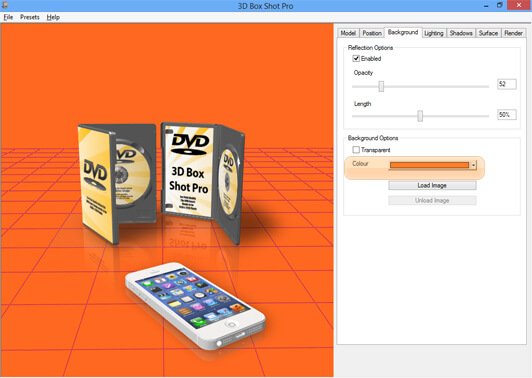 Screenshot showing how to change the background colour of a scene in 3D Box Shot Pro.