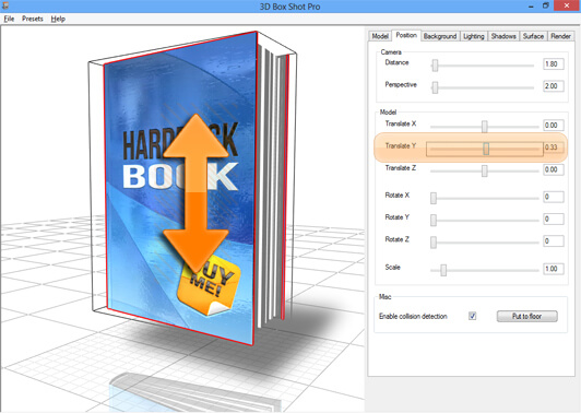 Screenshot showing the Y translation controls in 3D Box Shot Pro