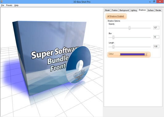 Screenshot showing the effect of changing the colour of shadows in 3D Box Shot Pro.