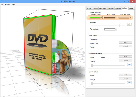 Screenshot showing the ambient colour controls being used to change the colour of a DVD case.