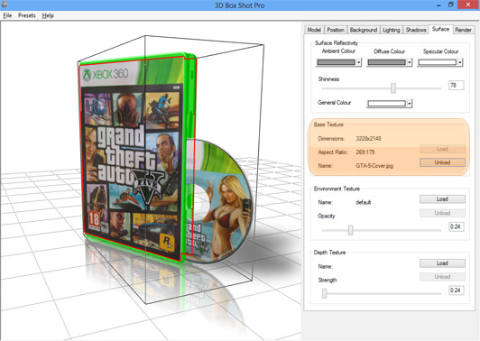Screenshot showing the effects of loading a new texture onto a DVD case model.