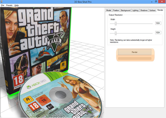Screenshot Showing the Render Button in 3D Box Shot Pro.