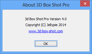 Screenshot of the 3D Box Shot Pro about box.