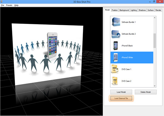 Screenshot showing a 2D image loaded into the program and how it appears in 3D.