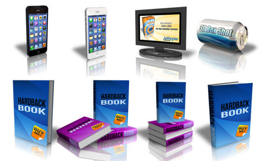 Image showcasing the iPhone, Monitor, Can and eBook models that ship with 3D Box Shot Pro