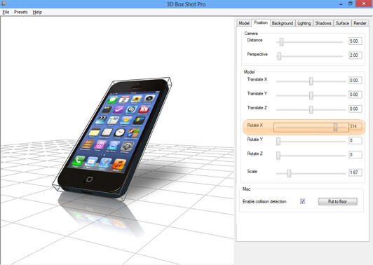Screenshot showing the X Axis rotation controls in 3D Box Shot Pro.