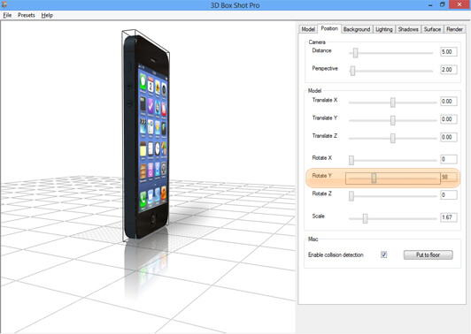 Screenshot showing the Y Axis rotation controls in 3D Box Shot Pro.