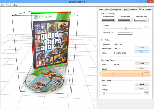 Screenshot showing the effect of the environment texture on a DVD case model in 3D Box Shot Pro.