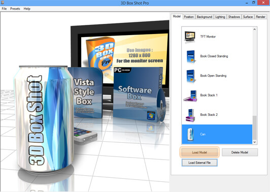Screen Shot of 3D Box Shot Pro showing the Load Model Button Highlighted.