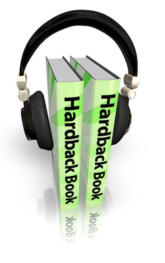 Image rendered in 3D Box Shot Pro showing a pair of headphone clamped on to a pair of hardback books to visually represent the concept of audio books.