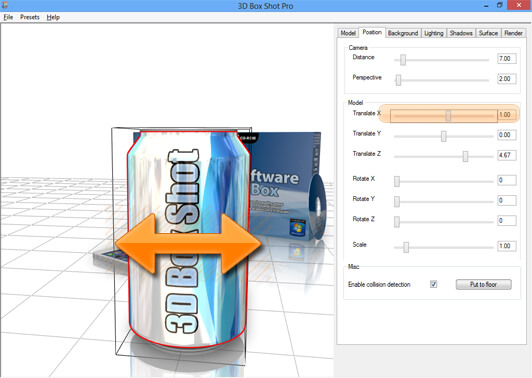 Screenshot showing the X translation controls in 3D Box Shot Pro