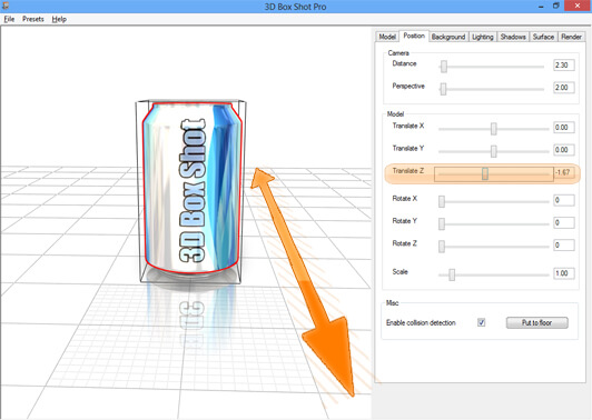 Screenshot showing the Z translation controls in 3D Box Shot Pro