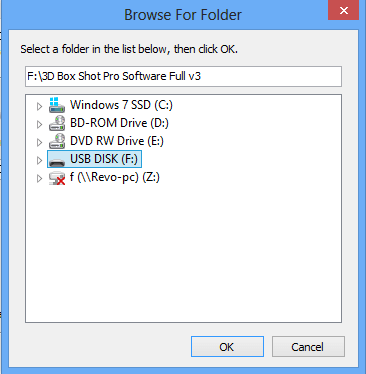 "Screenshot of ""Browse for Folder"" Windows Dialog box."