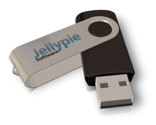 screenshot showing a Jellypie Software Branded USB stick. This was rendered in 3D Box Shot Pro.