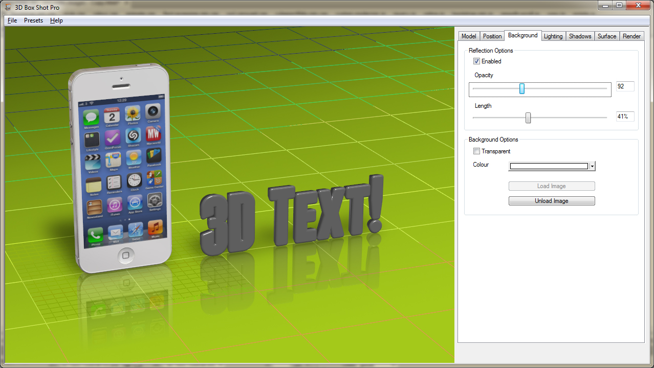 3D Text Tutorial Image showing the 3D Box Shot Pro interfact with rendered 3D Text visible.