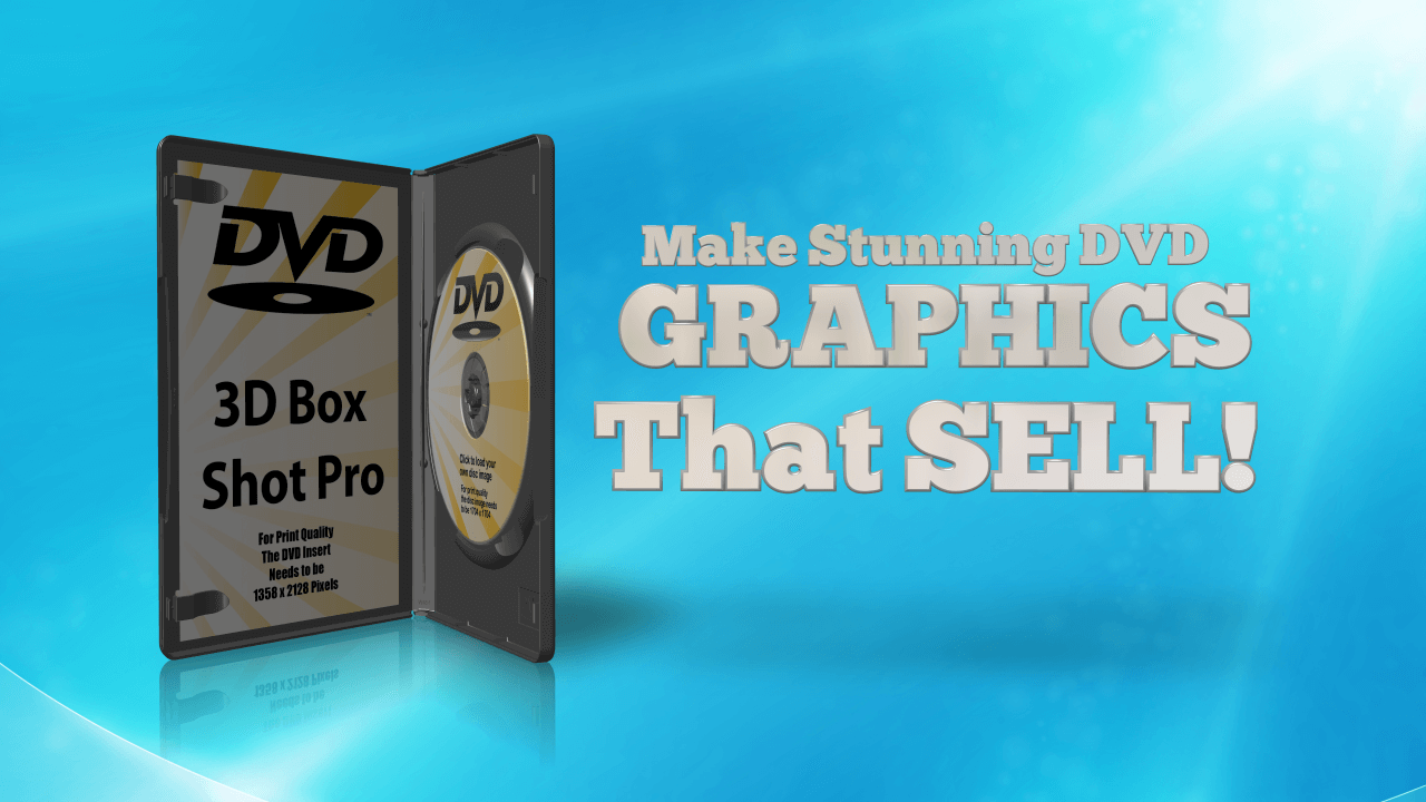 Stunning DVD Graphics that Sell. 3D Model of a DVD Case on a blue background with 3D Text