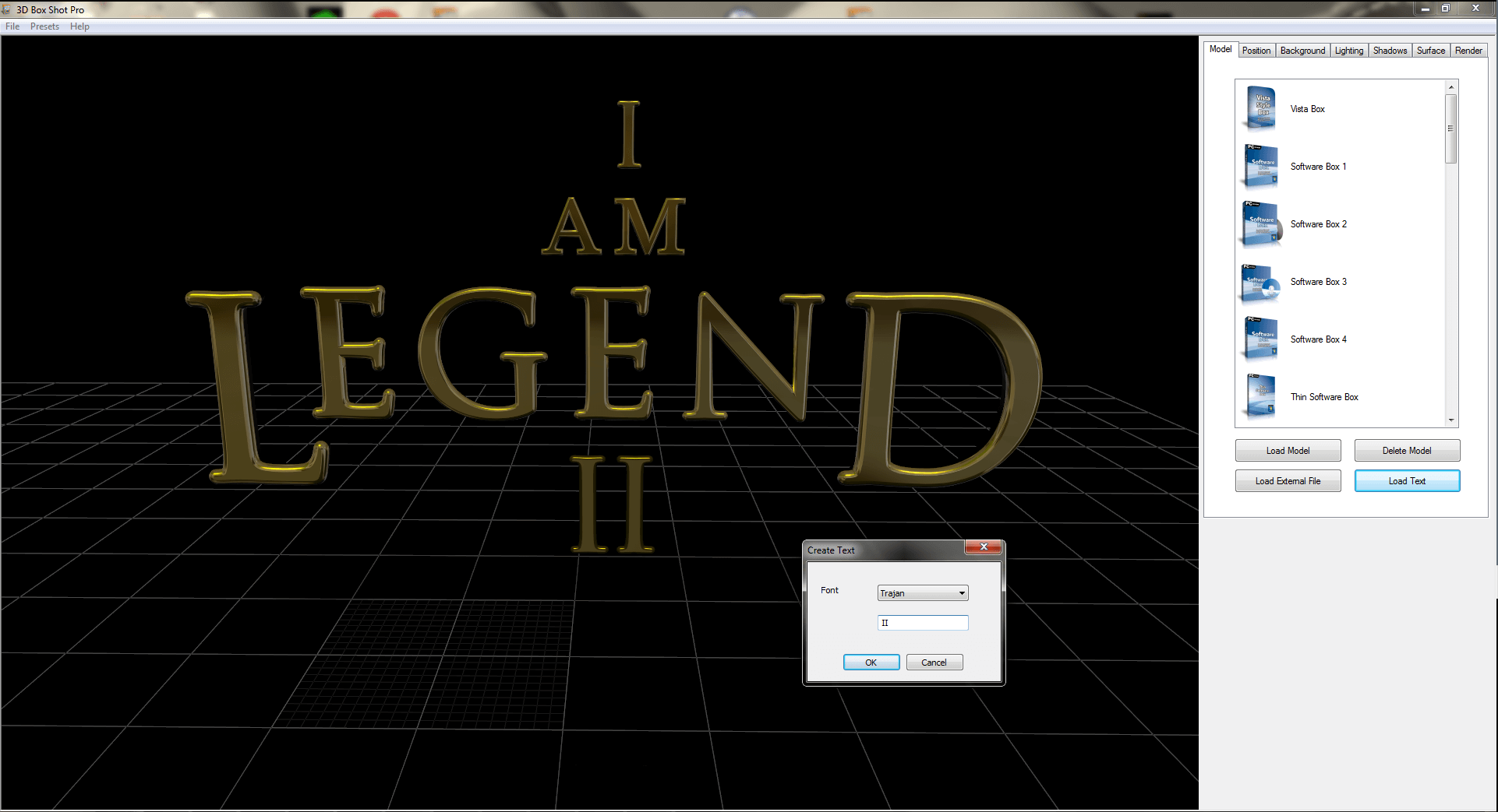 I am Legend 3D Text Rendered in 3D Box Shot Pro