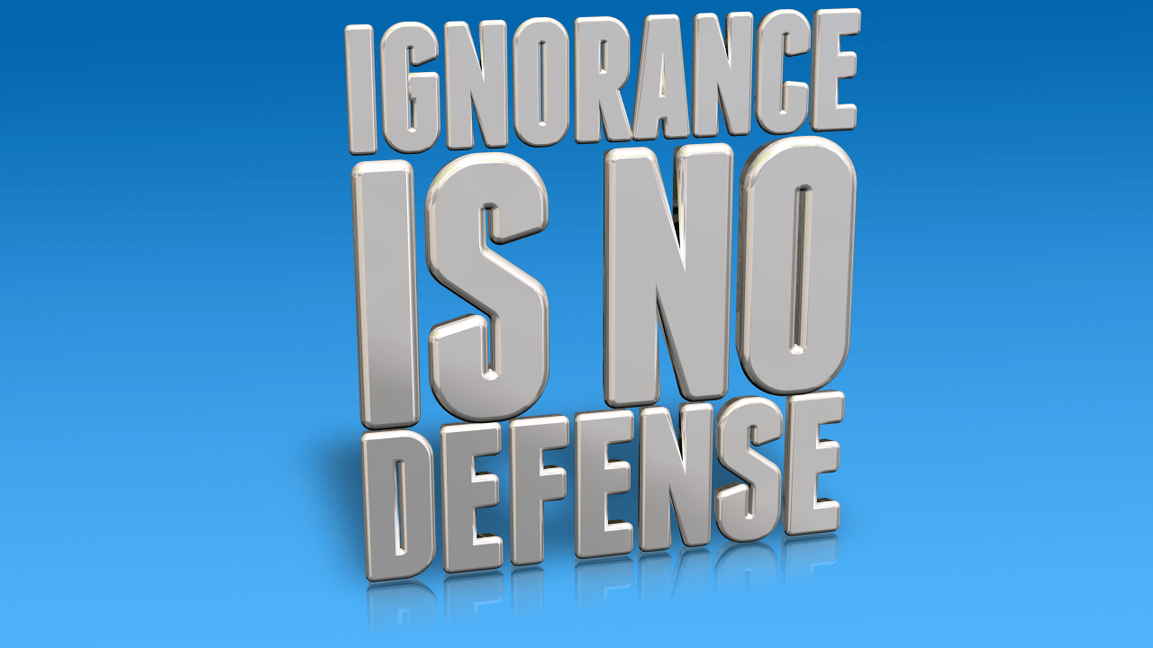 Ignorance is No Defense in Impactful Shiny Silver lettering
