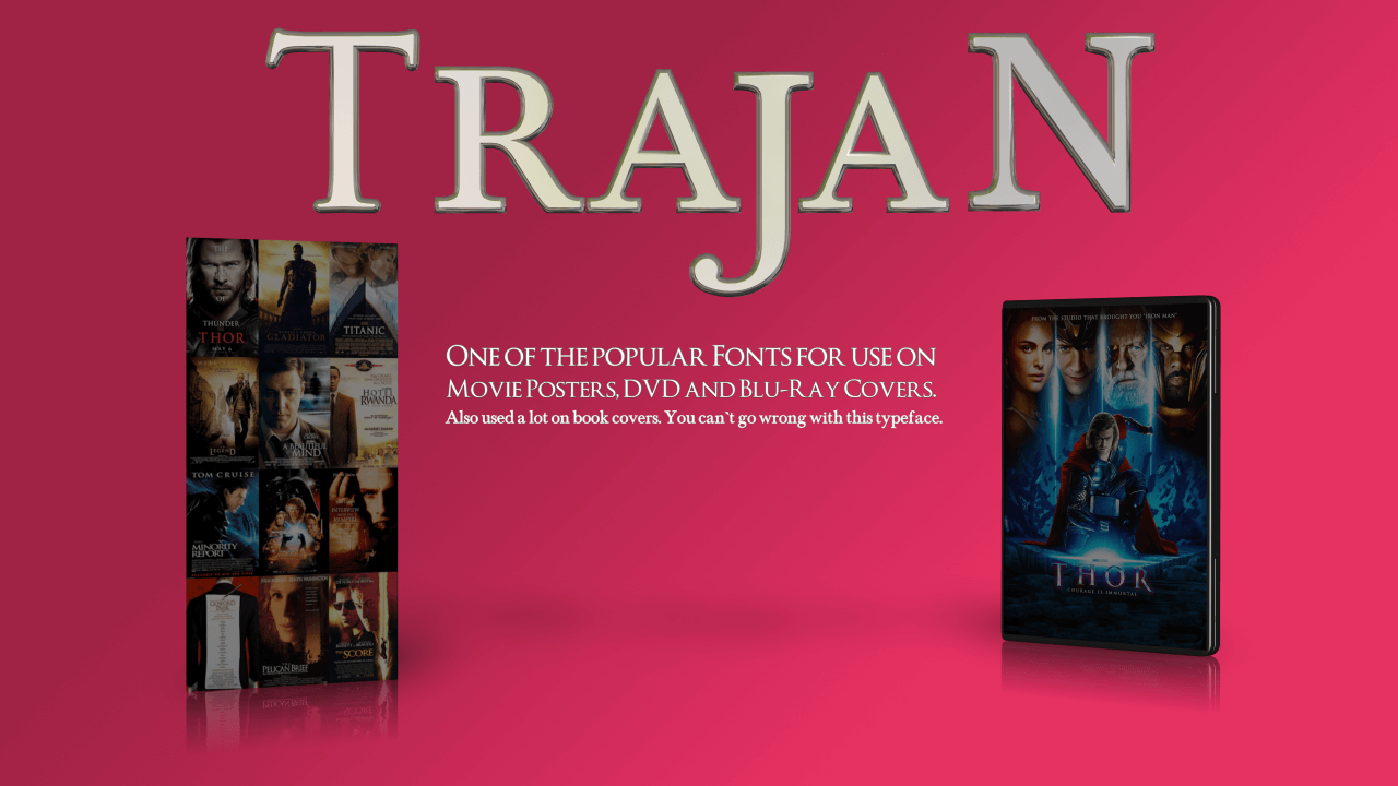 Trajan 3D Font the go to choice of fonts for movie posters